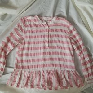 Lucky Brand Top w/ Pink and Off-White Stripes sz L
